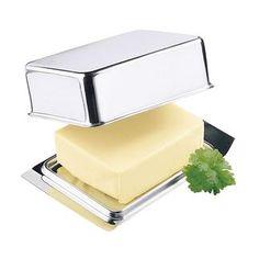 Beurrier en inox Ce beurrier en inox se range parfaitement dans le compartiment à beurre de votre réfrigérateur.