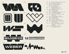 W-17  Collection of vintage logos from a mid-70's edition of the book World of Logotypes.