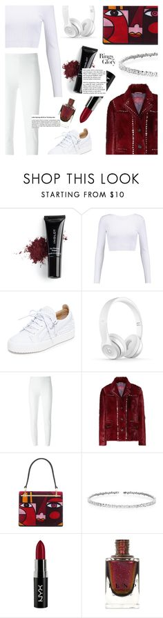 """""""i'm in love―with myself."""" by sugaplump ❤ liked on Polyvore featuring Inglot, Cushnie Et Ochs, Giuseppe Zanotti, Moschino, Prada, Suzanne Kalan, NYX, Tiffany & Co. and sneakers"""
