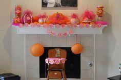 Pink and Orange Birthday Party pumpkins