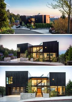 This black home, located on a steep lot in Portland, Oregon, with views towards Mt. St. Helens and Mt. Rainier, has been designed for a family that loves music.