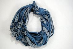 Blue and Grey Chunky T-Shirt Scarf w/ Flower