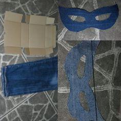 Um pedaço de jeans, papelão e uma máscara de Carnaval!!