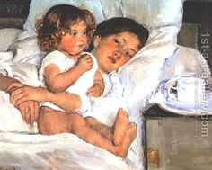 Mary Cassatt:Breakfast in Bed. I love this so much I'm going to have a reproduction done for myself and my daughters. Adorable!