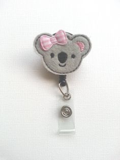 Grey Koala Bear Felt Badge Reel  Retractable by SimplyReelDesigns, $6.25