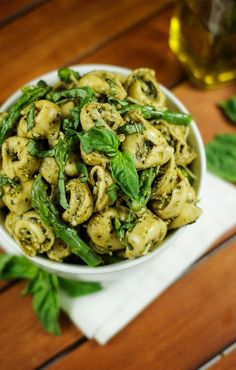 Pesto Tortellini Salad with Asparagus - the perfect way to use that fresh garden basil!