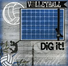 Volleyball Dig It  Premade Scrapbook Page by SusansScrapbookShack, $16.95