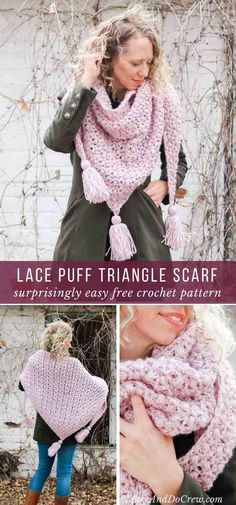 This dreamy crochet lace shawl in perfect for Spring, Summer, Winter or Fall. Or wear it as a triangle scarf for an adorable tassel look. Free wrap pattern featuring Lion Brand Touch of Alpaca yarn. via @makeanddocrew #crochetscarf #crochetcowl #lionbrandyarns #freecrochetpattern