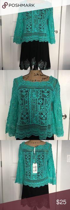 Teal crochet top Teal crochet top Tops