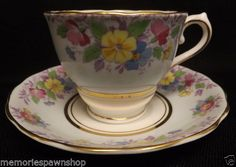 Colclough Bone China Pastel Flowers Yellow Fancy Tea Cup and Saucer HSC-39