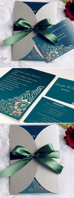 Emerald Green Ribbon and Grey Pocket Vintage Wedding Invitations