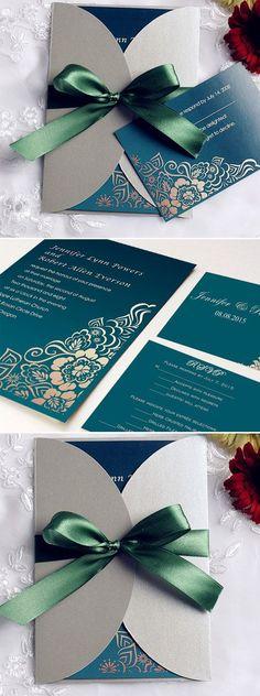 Emerald Green Ribbon and Grey Pocket Vintage Wedding Invitations