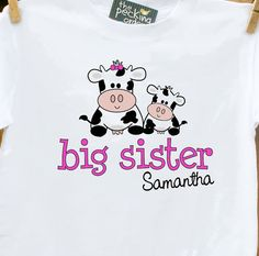Big Sister shirt adorable cow perfect pregnancy by zoeysattic