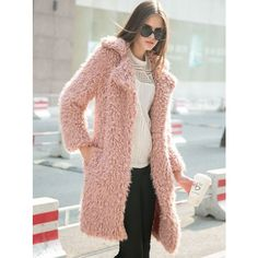 Pink Quality Lapel Long Line Soft Faux Fur Warm Coat ($55) ❤ liked on Polyvore featuring outerwear, coats, collar coat, longline coat, fake fur coats, long coat and pink coat