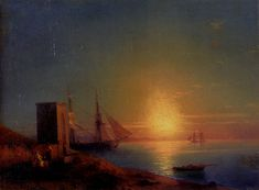 Figures in a Coastal Landscape at Sunset by Ivan Aivazovsky