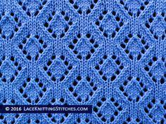 Lace Knitting. #41 Eyelet Diamonds lace stitch