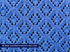 Lace Knitting. #41 Eyelet Diamonds lace stitch