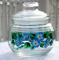 Blue Flowers Glass Jar