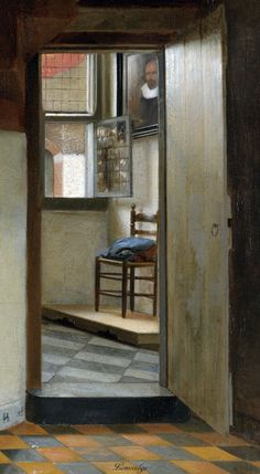 "Pieter de Hooch ""Woman with a Child in a Pantry"" aka. Woman and Child in an Interior aka. The Butterfly c.1656-60 (detail) Pieter de Hooch [Dutch Golden Age, Baroque Era Painter, 1629-1684] Oil on canvas Rijksmuseum, Netherlands"