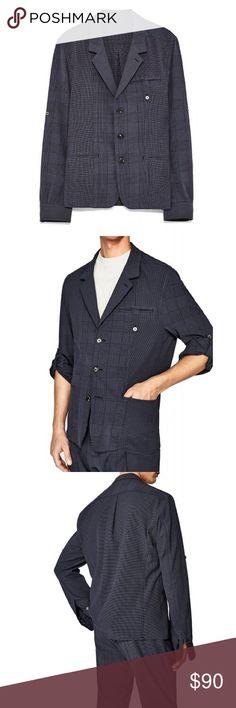 6673931f NWT Zara MAN STUDIO Navy Plaid Seersucker Blazer Men's blue mixed print  plaid checkered seersucker blazer