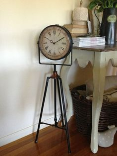 Rustic Freestanding Tripod Clock ON Stand French Provincial Industrial Country | eBay