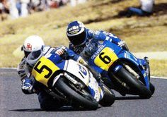 Ron Haslam and Christian Sarron at Le Mans, 1985 French 500cc Grand Prix