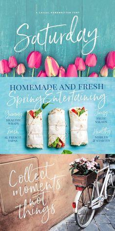 Saturday Script Brush Font #font #handwritten #script #authentic Salad Wraps, Brush Font, Tapas, Script, Juicy Fruit, Beautiful Fonts, Homemade, Having A Blast, New Fonts
