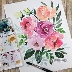 6,655 отметок «Нравится», 134 комментариев — Jeannie Dickson (@honeybopsdesigns) в Instagram: «Painting a #vintage looking #watercolor #rose with a triangular brush. Custom color  by mixing Red…»