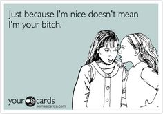 @Dawn Ertel Funny Friendship Ecard: Just because I'm nice doesn't mean I'm your bitch.