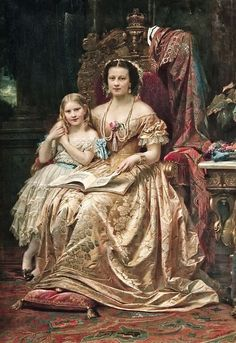 HM THE QUEEN OF HANOVER MARIE OF SAXE-ALTENBURG DUCHESS OF CUMBERLAND AND BRUNSWICK WITH HER DAUGHTER THE PRINCESS MARIE OF HANOVER: