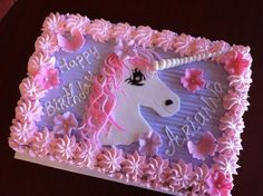 Birthday Cake by Roscoe Bakery Birthday Sheet Cakes, Birthday Cake Girls, Unicorn Birthday Parties, Unicorn Party, Frozen Castle Cake, Unicorn Foods, Dessert Chocolate, Birthday Cake Decorating, Birthday Pictures