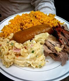 This sums up the core of the authentic PuertoRican meal ........   But what's missing ?????????? (Que falta?)