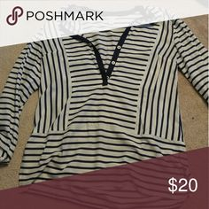 Women's nautica long sleeve shirt Long sleeve navy and white stripes shirt. Light flowy material  Sleeve button to make 3/4 length. Button down too. Nautica Tops Tees - Long Sleeve