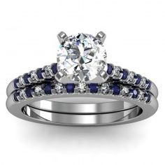BAND ONLY-Cathedral Channel set Blue Sapphire & Diamond Band in 18k White Gold  In stockSKU: S1020BAND-BS-18W