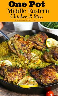 A flavorful Middle Eastern Chicken made with seasoned turmeric rice all in one pot! Fuss free this middle eastern chicken is super easy to make.