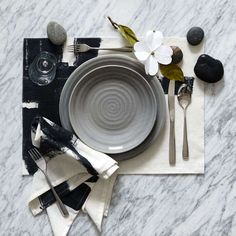 Table setting, Japanese-Inspired, Zen - The Inkbrush Placemat Set by West Elm