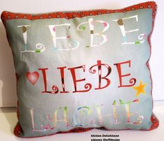 Deko Kissen Lebe,Liebe,Lache - eigenes Design  von ღKreawusel-Designღ auf DaWanda.com