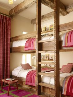 Kelly and Abramson Architecture: Girls ski chalet bunk room with rustic built-in bunk beds and exposed wood beamed . - Feste Home Decor Girls Bunk Beds, Bunk Bed Rooms, Bunk Beds Built In, Kid Beds, Lofted Beds, Adult Bunk Beds, Home Bedroom, Girls Bedroom, Bedroom Decor