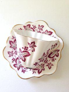 Vintage English Rosina Tea Cup & Saucer Fine Bone China