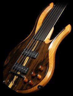Mike Browne Design MBD Double Cut Ziricote 5-string fretless Bass