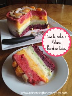 "How to make a natural, 100% fruit Yonanas ""Ice Cream"" Rainbow Cake from Parenting Fun Everyday."