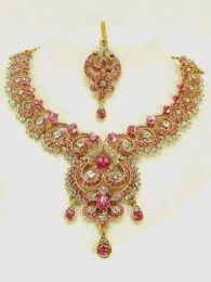 Beautiful Exclusive Necklace Set With Pink Drop Down
