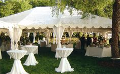 White tent and linens