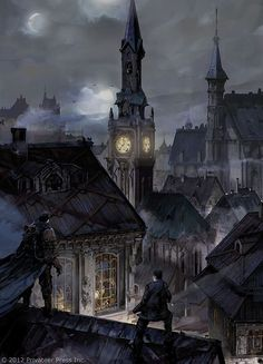night rooftops illustration art.