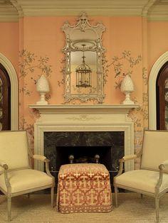 Interior Design Marshall Watson. Scalamandre Falk Manor cut velvet on ottoman. de Gourney wallpaper