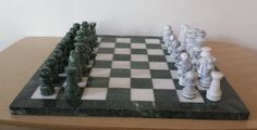 "Marble Chess Set in Green and White, 3.5"" KIng  and 16"" by16"" board #Cambor"