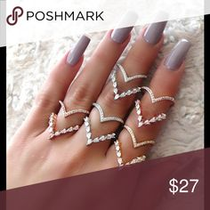 """Pave CZ Double """"V"""" Shaped Ring Available Colors: Gold, Silver Rose Gold Material: Copper Gold Plated, Cubic Zirconia Size: Adjustable Jewelry Rings"""