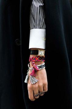 Paris autumn/winter street style: photos - Dior Watch - Ideas of Dior Watch - Paris autumn/winter street style. Bracelet Dior, Bracelets, Fashion Week, Womens Fashion, Fashion Trends, Fashion Fashion, Street Style, Imitation Jewelry, Trends 2018