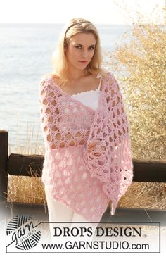 "Crochet DROPS shawl with lace pattern in ""Alpaca"" and ""Kid-Silk"". ~ DROPS Design"