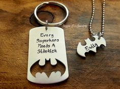 Every Superhero Needs a Sidekick Keychain & Necklace Set-Father's Day Gift-Dad's Sidekick Necklace-Bat Keychain and Necklace, Gift for Him by JazzieJsJewelry on Etsy